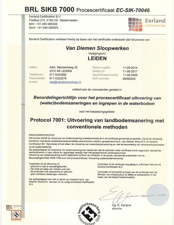Certificaat 7000 diemen sl