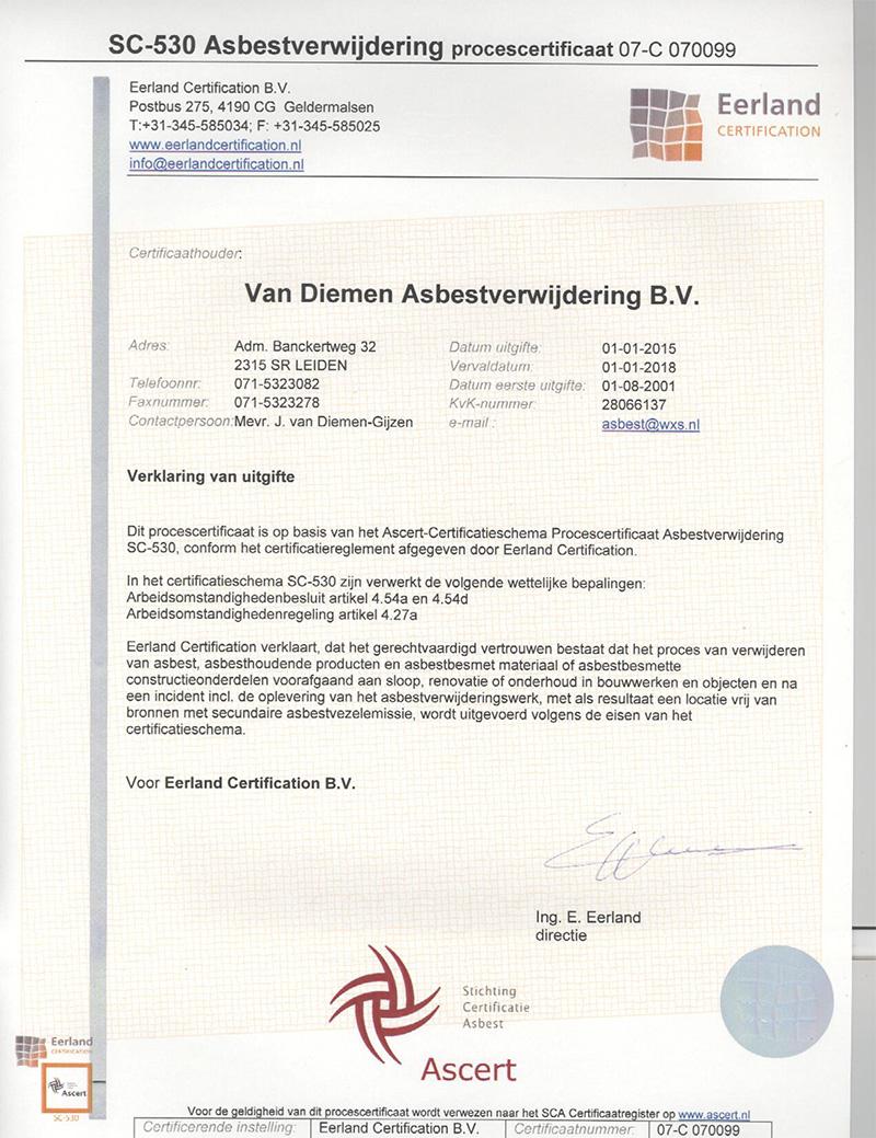 SC530-Certificaat